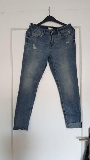 H&M Hoge taille jeans leigrijs Katoen