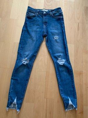 Zara Woman Hoge taille jeans blauw