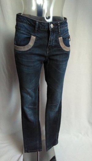 Mos Mosh Jeans a vita alta blu scuro
