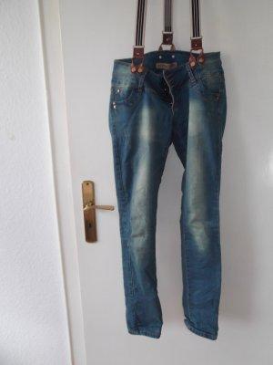 coole Jeans mit Hosenträger, Gr L