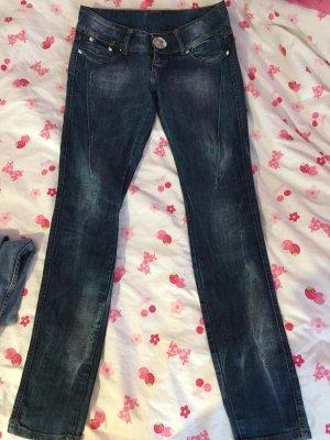Tally Weijl Pantalon taille basse bleu foncé-blanc coton