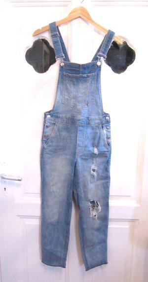 H&M Bib Denim azure-cornflower blue cotton