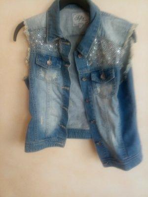Gilet en jean bleu azur coton