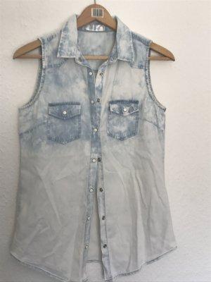 Blouse en jean blanc-bleu azur