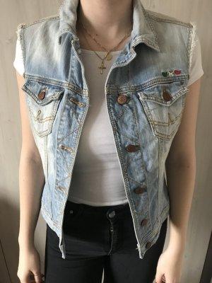 Gilet en jean bleu fluo acétate