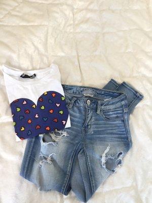 American Eagle Outfitters Jeans skinny azzurro-bianco
