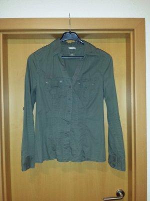 coole khaki farbene Langarm-Bluse / Hemd von Street One, Gr. 38