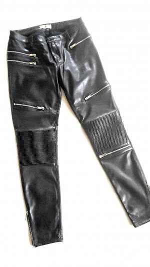 Zara Woman Leather Trousers black-silver-colored imitation leather