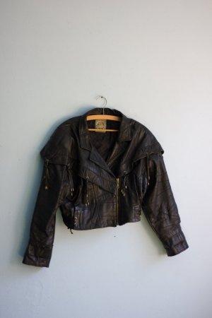 Coole Lederjacke Fransen Cowboy schwarz Vintage Retro