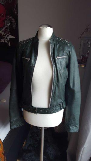 TRF Leather Jacket dark green