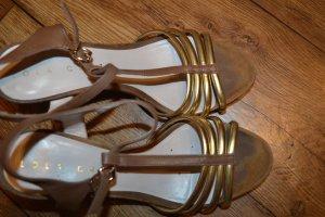 Coole Lola Cruz Sandaletten mit Block Absatz gold braun Gr. 40