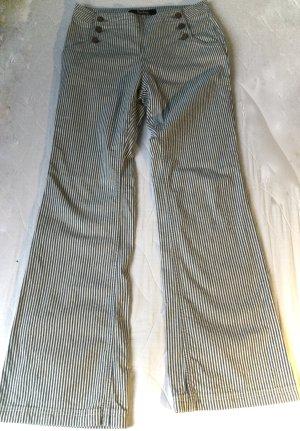 Boden Pantalón de campana blanco puro-azul acero Algodón