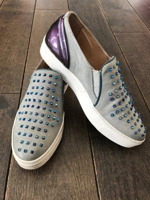 Coole Mjus Leder- Sneaker mit Nieten als Hingucker! Bequem, grau, Gr.40, Top!