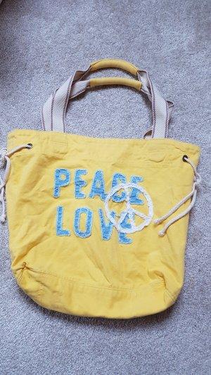 Coole, moderne, gelbe Stofftasche ( Strandtasche) ~ Peace & Love