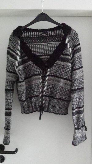 Coole neue NÜ by Staff Strickjacke Cardigan Wolle Schwarz Weiß Muster Gr L