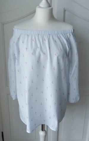 coole off shoulder Bluse von Gina Gr. 42 Hellblau mit Flamingos nur 2 x getragen