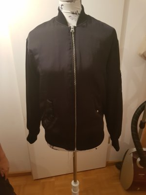 H&M Chaqueta bomber negro-color plata