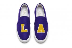 Coole Plattform Slipper Loafer von Joshu Sanders LA Los Angeles lila gelb
