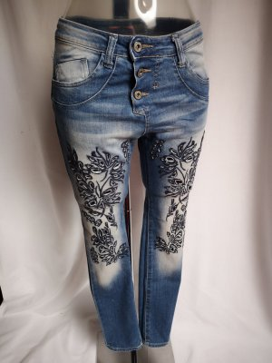 PLEASE Denim Boyfriend Jeans dark blue-steel blue