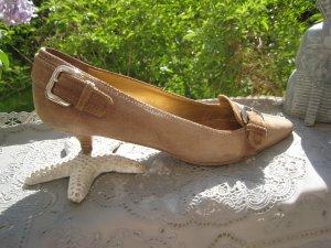 Coole Prada Luxus Schuhe Wildleder Nude Natur Silberschnallen NP 539 € Top