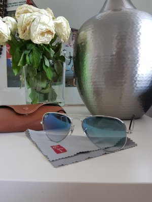 Coole Ray Ban Aviator Large Metal Silver Crystal Gradient Light Blue Sonnenbrille
