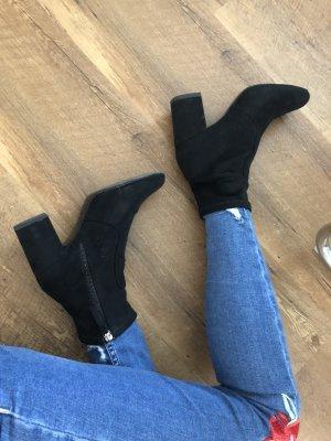 Coole schwarze Boots Zara Wildlederimitat Stiefel