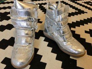 Coole silberne Wedge-Sneaker im Isabel Marant Stil
