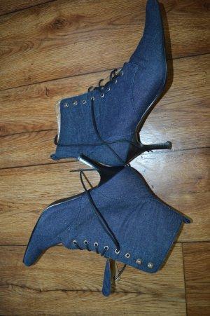 Bottines à lacets bleu