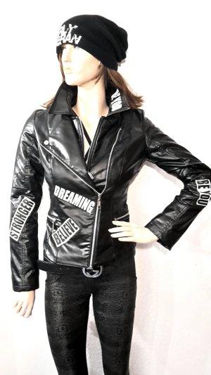 coole Statement Bikerlederjacke mit Patches asymetrischer Zipper schwarz voll gefüttert Gr XS von FOGGI