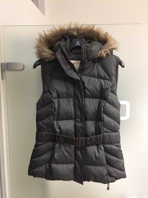 Coole Steppweste von Esprit, gr 42, grau/braun, abnehmbare Kaputze, wie NEU