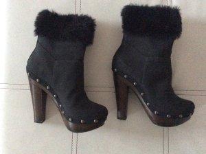 Scarpina di lana nero-marrone scuro