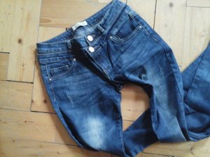 coole Stretch Jeans dunkelblau mit Doppelbund Gr. M highwaist Top