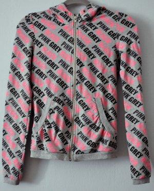 Coole Sweatjacke mit Kapuze in Grau und Pink