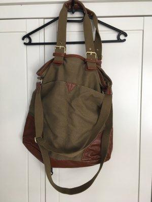 H&M Schoudertas bruin-groen-grijs