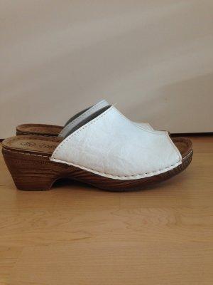 Sandalo con tacco bianco-marrone