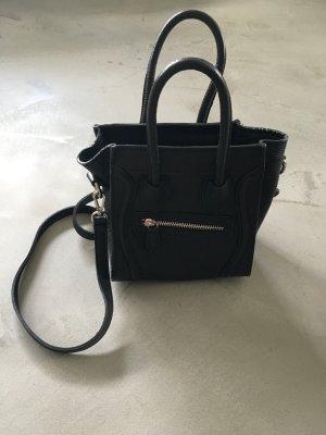 Crossbody bag black-silver-colored