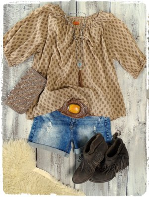 Tunique-blouse brun sable-marron clair coton