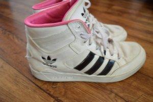 Coole Turnschuhe Adidas Knöchel Gr. 40 schwarz weiss innen pink