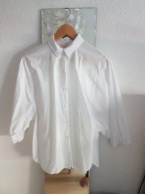 Coole weisse oversize Bluse mit weiten Ärmeln