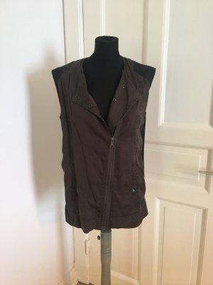 Zara Biker vest zwart-khaki