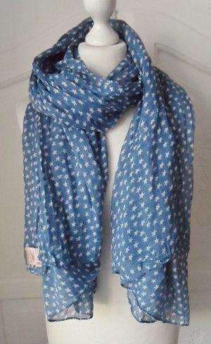 cooler Becksöndergaard Schal Blau Weiß mit Sternen 1 x getragen