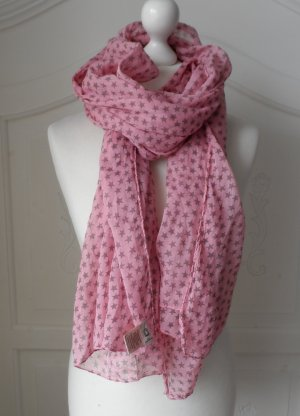 cooler BECKSÖNDERGAARD XXL Schal mit kleinen Sternen Pink Graubraun  wenig getragen