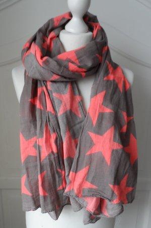 cooler BECKSÖNDERGAARD XXL Schal mit Sternen Graubraun Orange wenig getragen