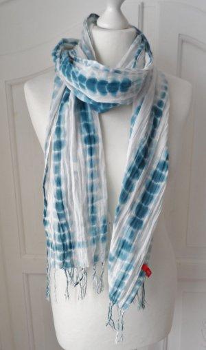 cooler Esprit Batik Schal türkis weiß wenig getragen