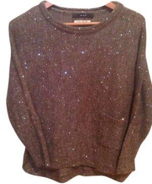 Cooler Grauer Pullover mit Glitzer Pailletten von Oui