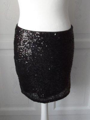 cooler H&M Pailletten Rock Gr. 38 Schwarz nur wenig getragen