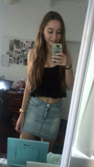 Jupe en jeans bleu azur coton