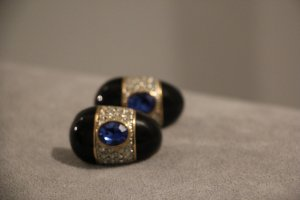 Cooler Hingucker: Ohrclips blau mit silber