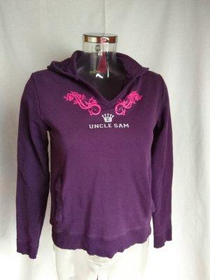 Uncle Sam Hooded Shirt pink-dark violet cotton