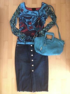 Orsay Denim Skirt dark blue cotton